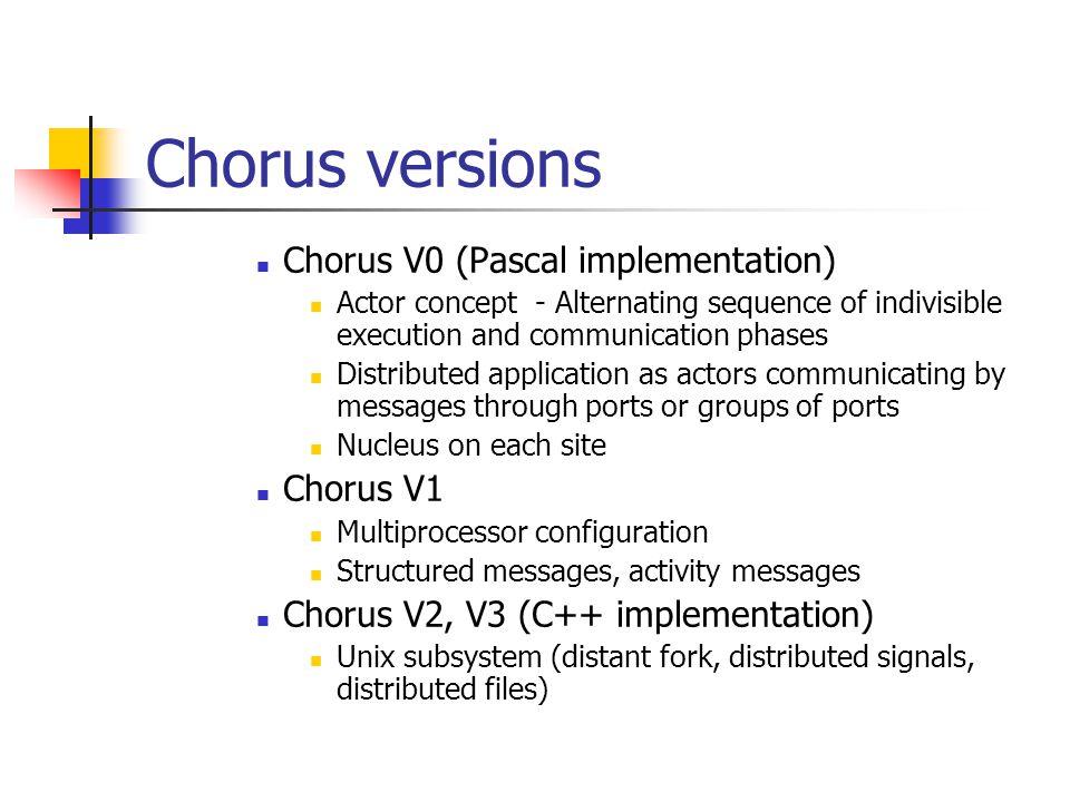 Chorus versions Chorus V0 (Pascal implementation) Chorus V1