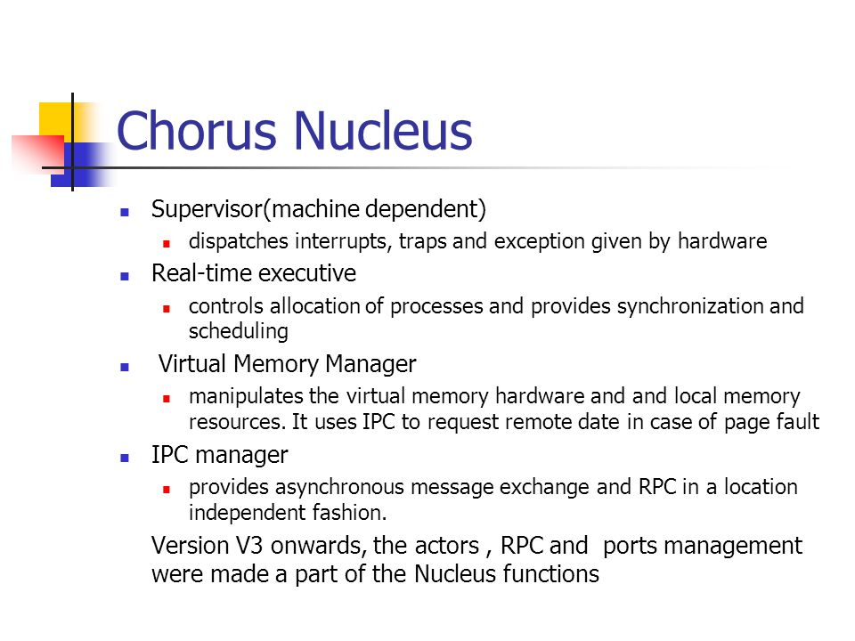 Chorus Nucleus Supervisor(machine dependent) Real-time executive