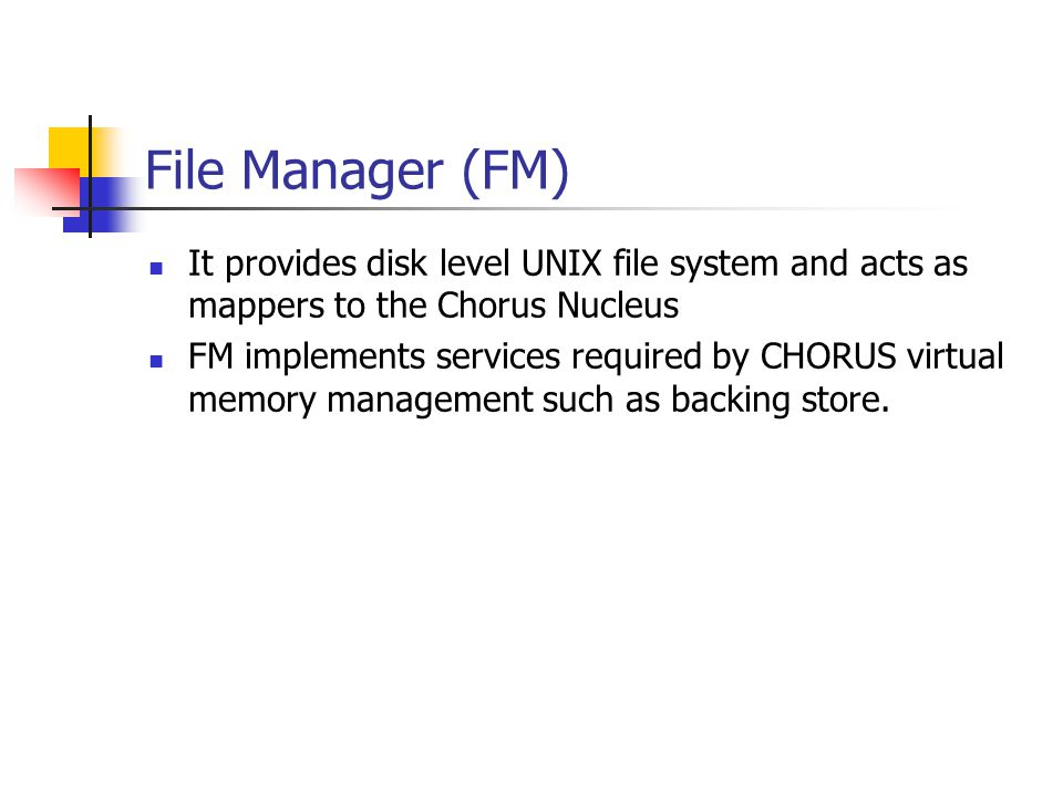 File Manager (FM) It provides disk level UNIX file system and acts as mappers to the Chorus Nucleus.