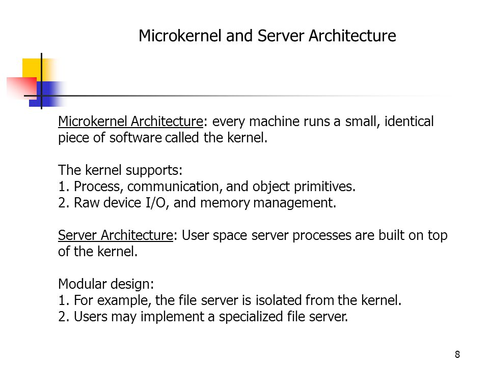 Microkernel and Server Architecture
