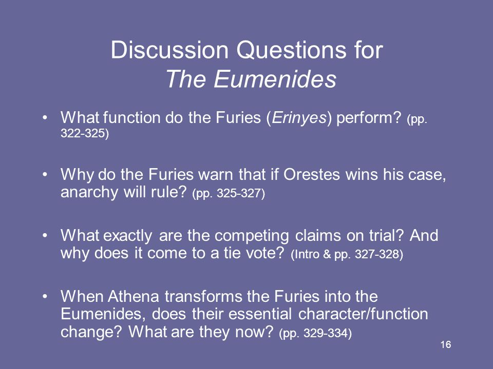 Discussion Questions for The Eumenides