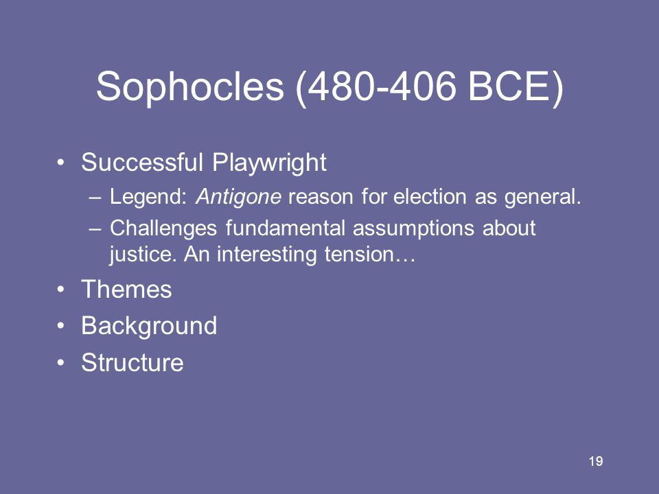 Sophocles (480-406 BCE) Successful Playwright Themes Background