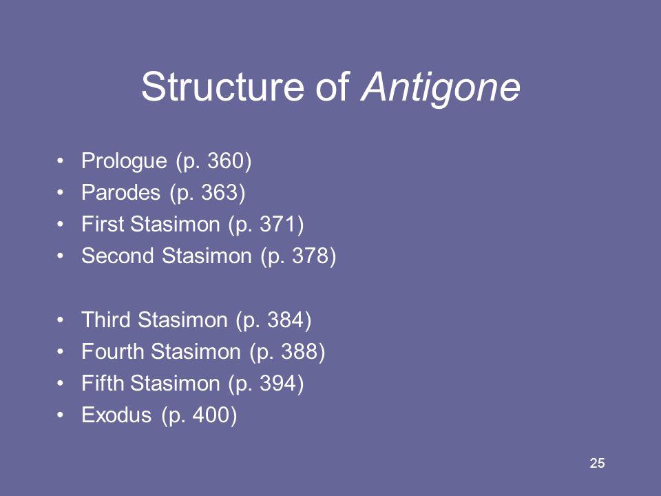Structure of Antigone Prologue (p. 360) Parodes (p. 363)