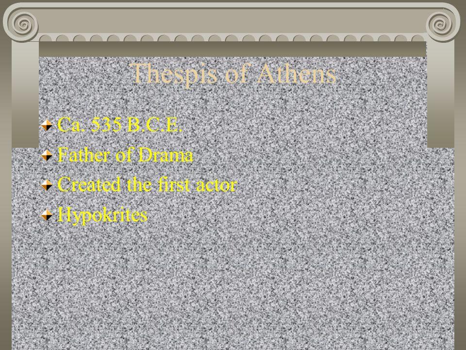 Thespis of Athens Ca. 535 B.C.E. Father of Drama
