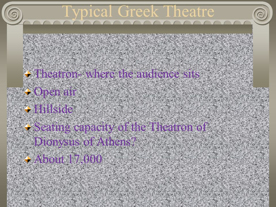 Typical Greek Theatre Theatron- where the audience sits Open air