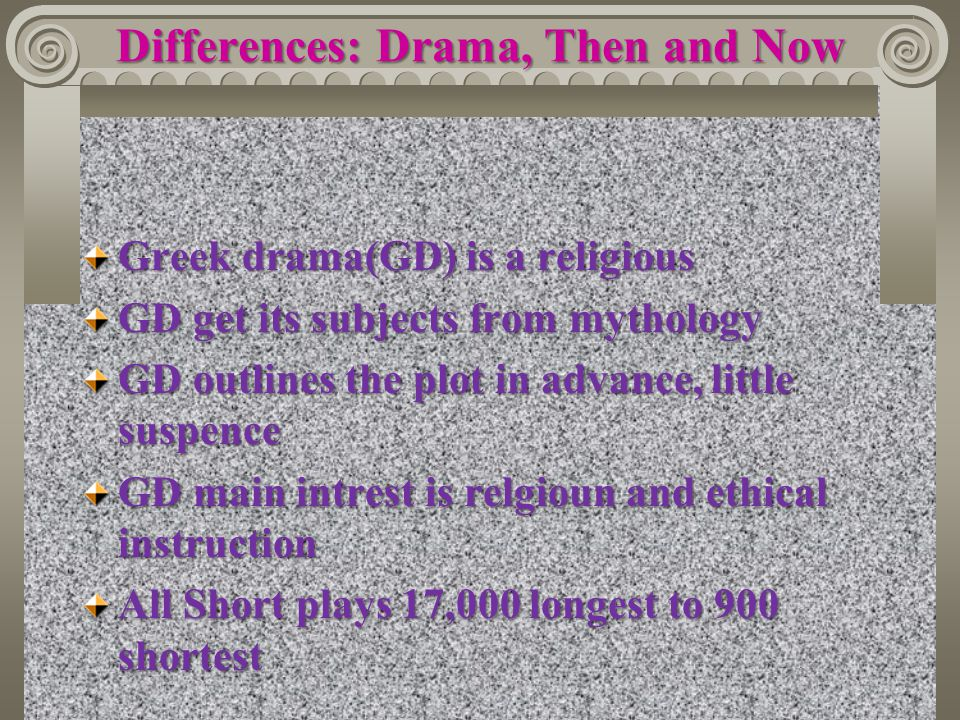 Differences: Drama, Then and Now
