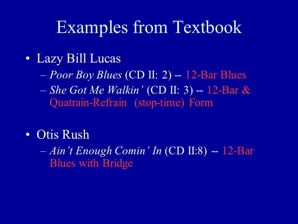 Examples from Textbook