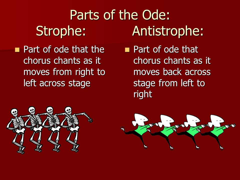 Parts of the Ode: Strophe: Antistrophe: