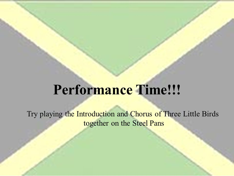 Performance Time!!. Try playing the Introduction and Chorus of Three Little Birds.