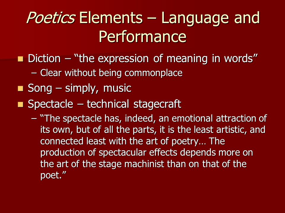 Poetics Elements – Language and Performance
