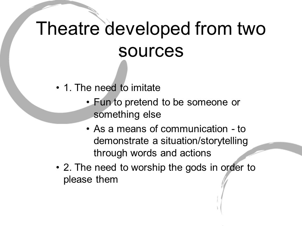Theatre developed from two sources