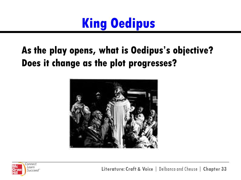 King Oedipus As the play opens, what is Oedipus's objective Does it change as the plot progresses
