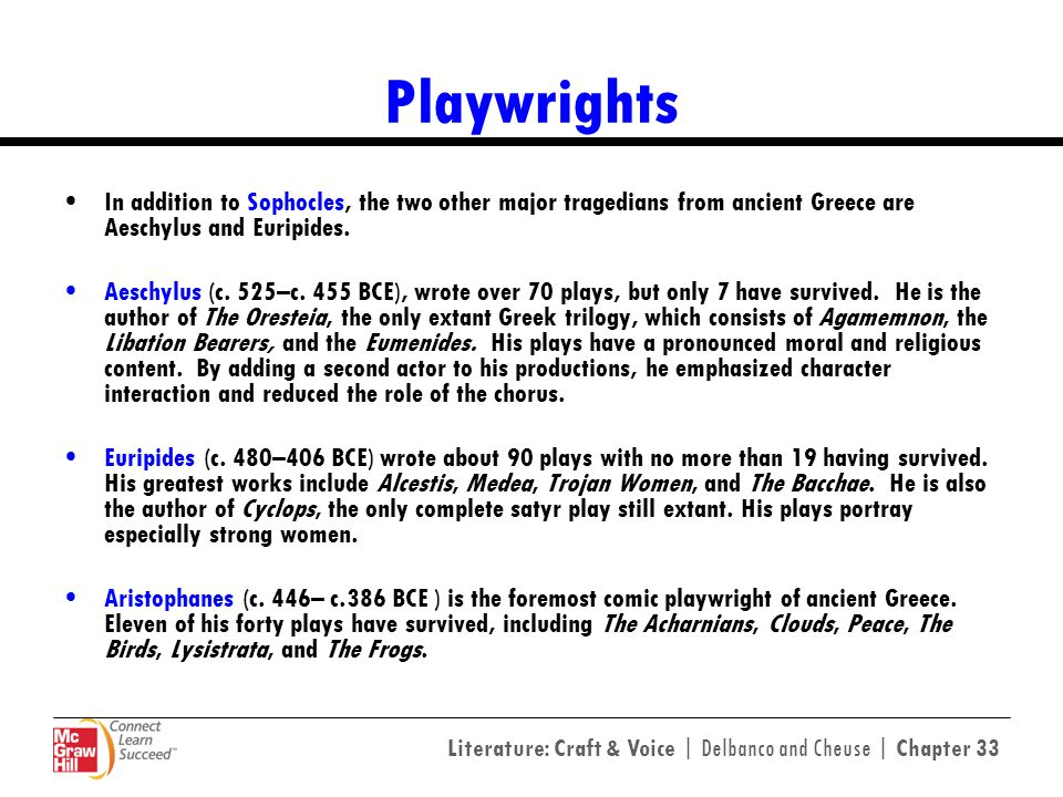 Playwrights In addition to Sophocles, the two other major tragedians from ancient Greece are Aeschylus and Euripides.
