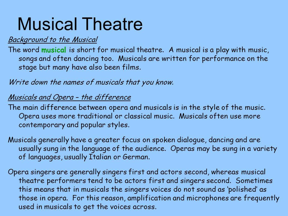 Musical Theatre Background to the Musical