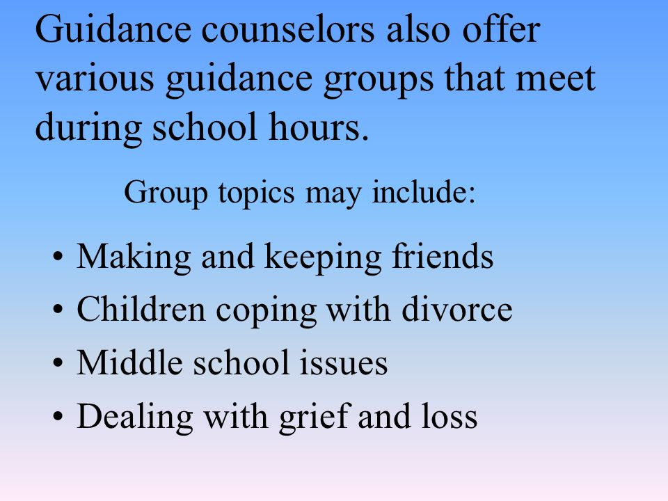 Guidance counselors also offer various guidance groups that meet during school hours.