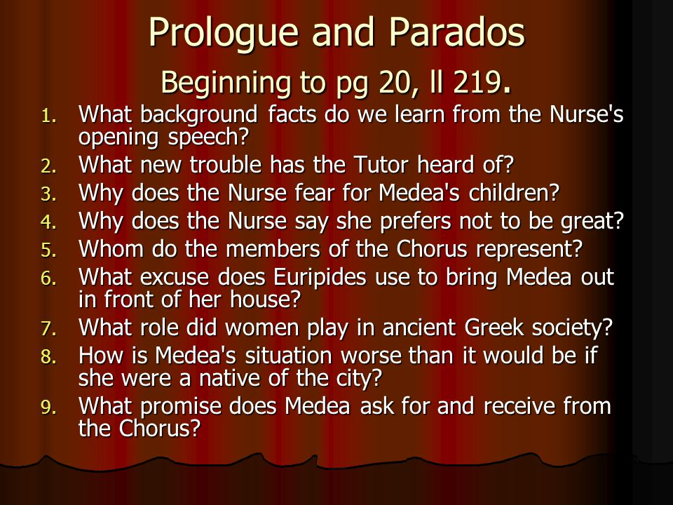 Prologue and Parados Beginning to pg 20, ll 219.