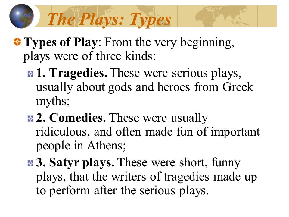 The Plays: Types Types of Play: From the very beginning, plays were of three kinds: