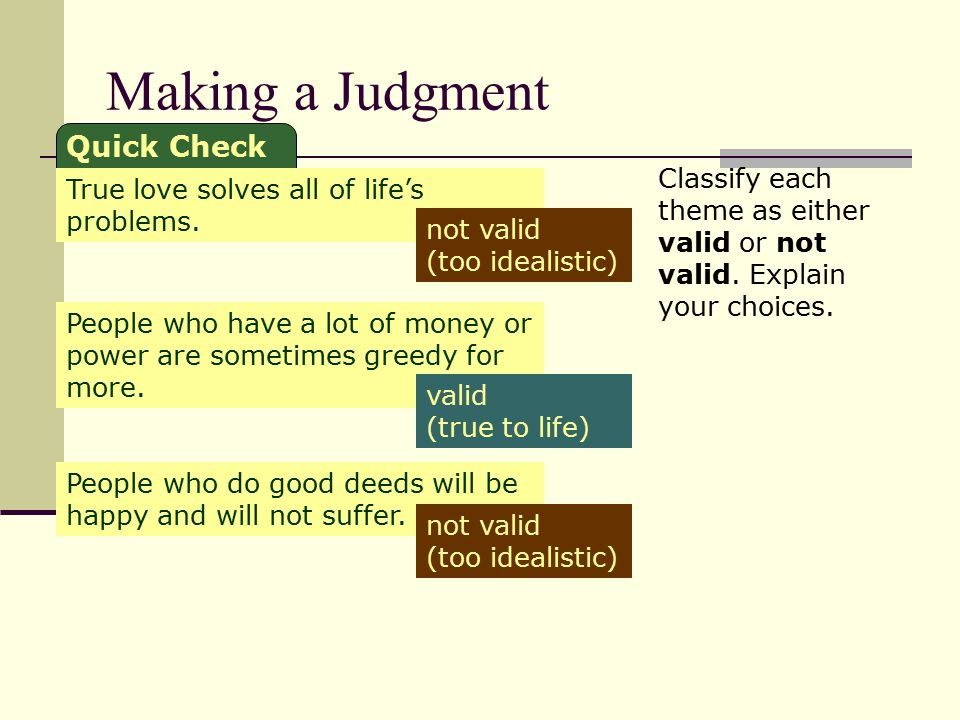 Making a Judgment Quick Check