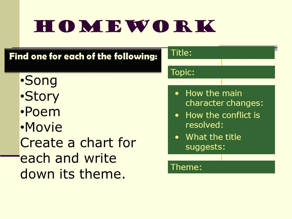 Homework Song Story Poem Movie