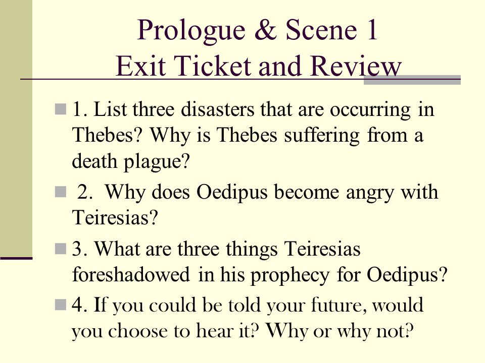 Prologue & Scene 1 Exit Ticket and Review