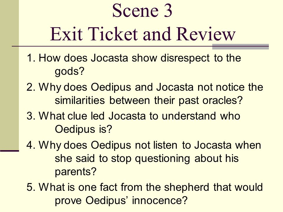 Scene 3 Exit Ticket and Review