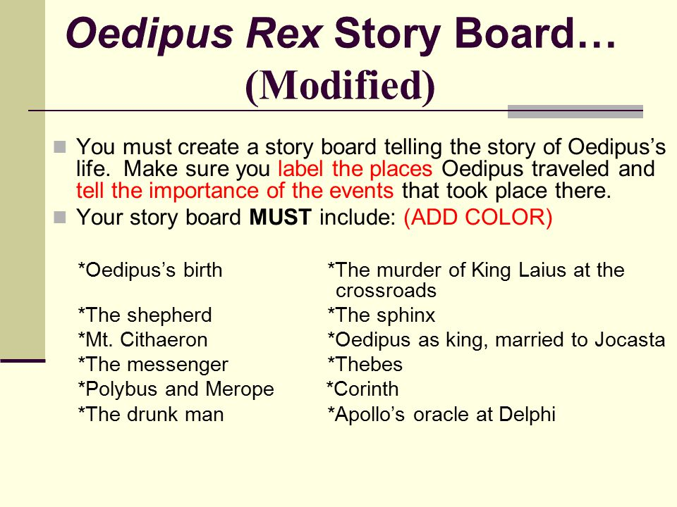 Oedipus Rex Story Board… (Modified)