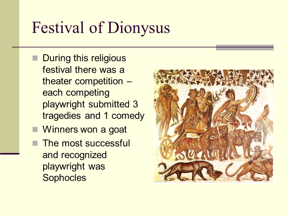Festival of Dionysus During this religious festival there was a theater competition – each competing playwright submitted 3 tragedies and 1 comedy.