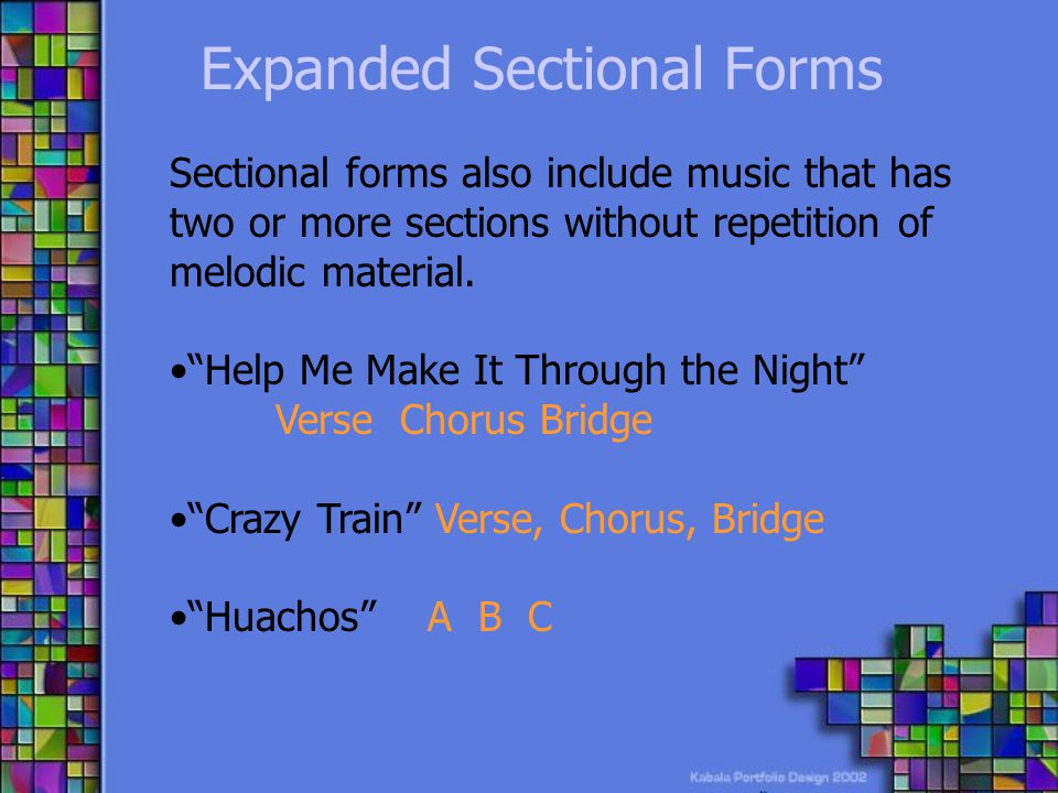 Expanded Sectional Forms