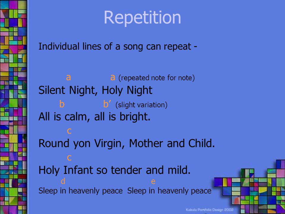 Repetition a a (repeated note for note) Silent Night, Holy Night