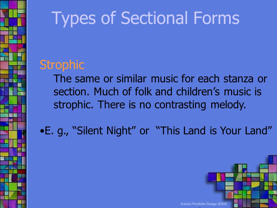 Types of Sectional Forms