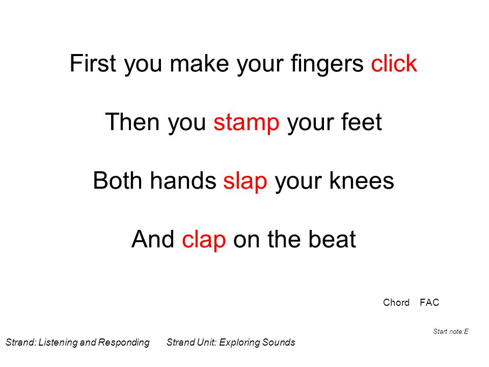 First you make your fingers click Then you stamp your feet Both hands slap your knees And clap on the beat Chord FAC