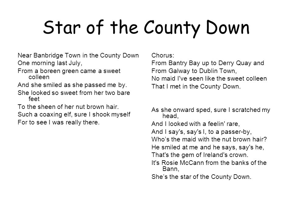 Star of the County Down Near Banbridge Town in the County Down