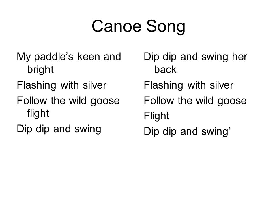 Canoe Song My paddle's keen and bright Flashing with silver