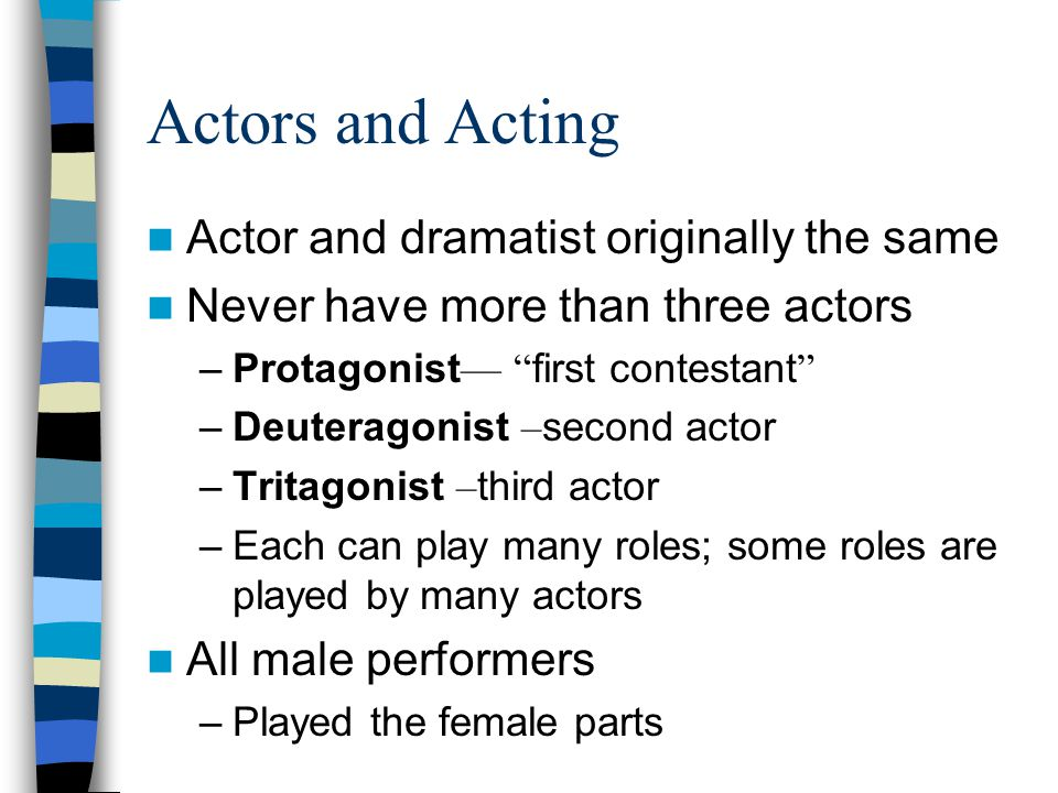 Actors and Acting Actor and dramatist originally the same
