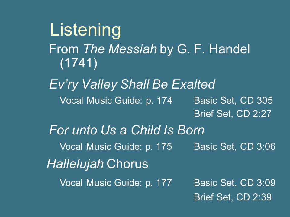 Listening From The Messiah by G. F. Handel (1741)