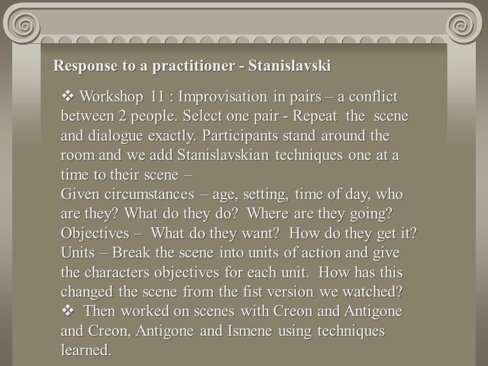 Response to a practitioner - Stanislavski