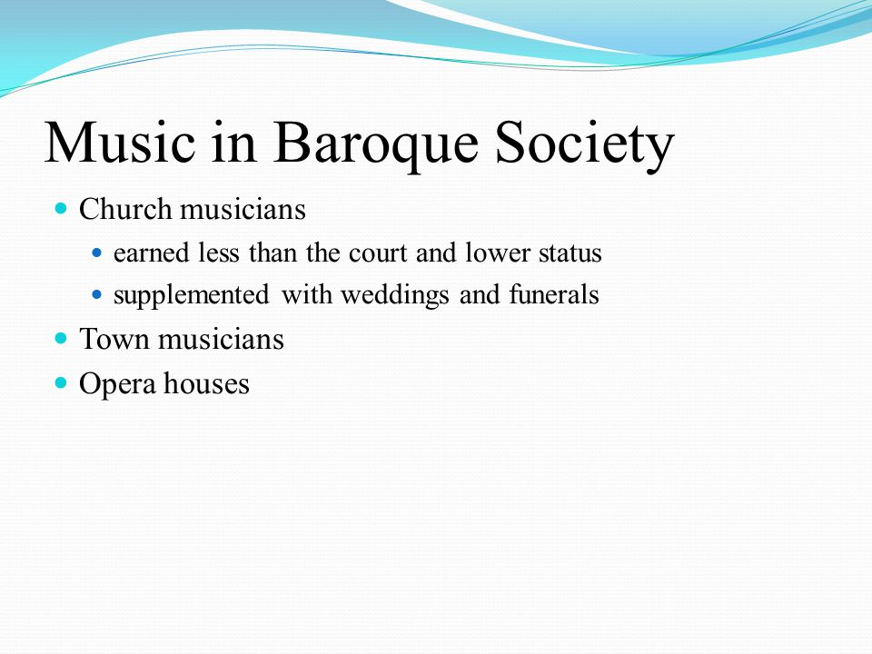 Music in Baroque Society