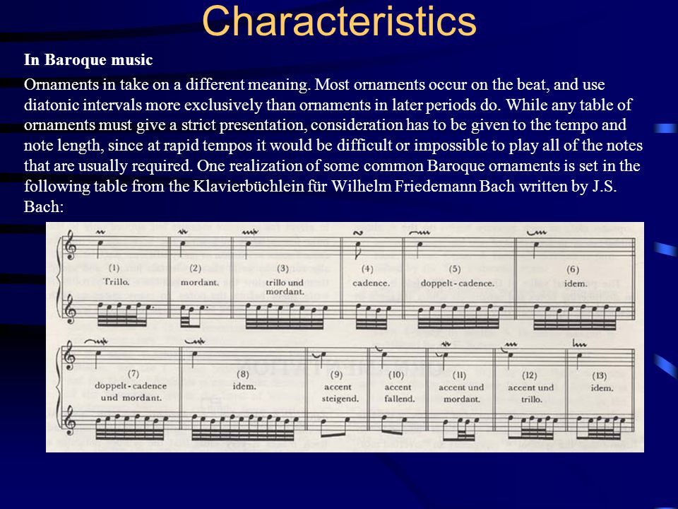 Characteristics In Baroque music