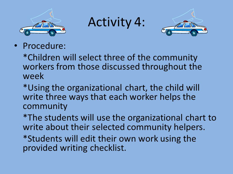 Activity 4: Procedure: *Children will select three of the community workers from those discussed throughout the week.