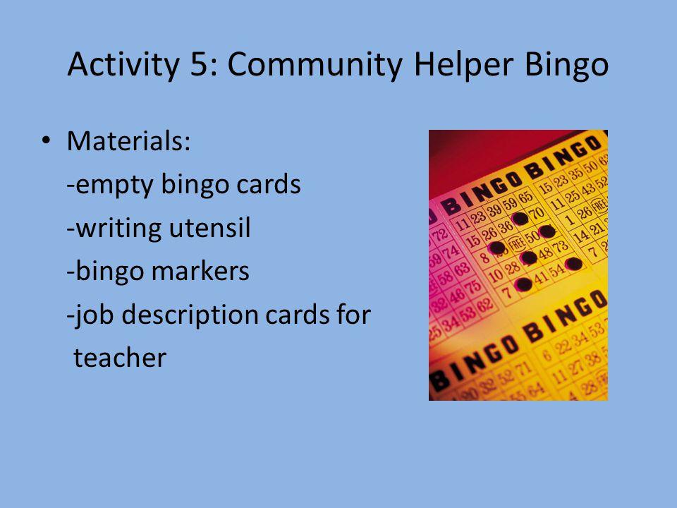 Activity 5: Community Helper Bingo