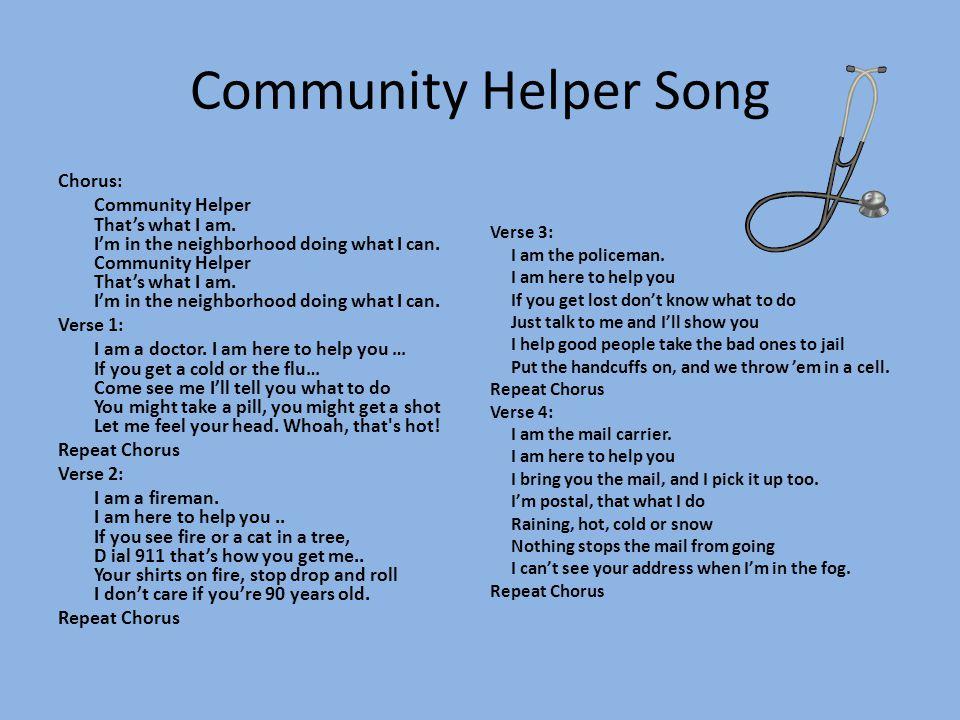 Community Helper Song Chorus: