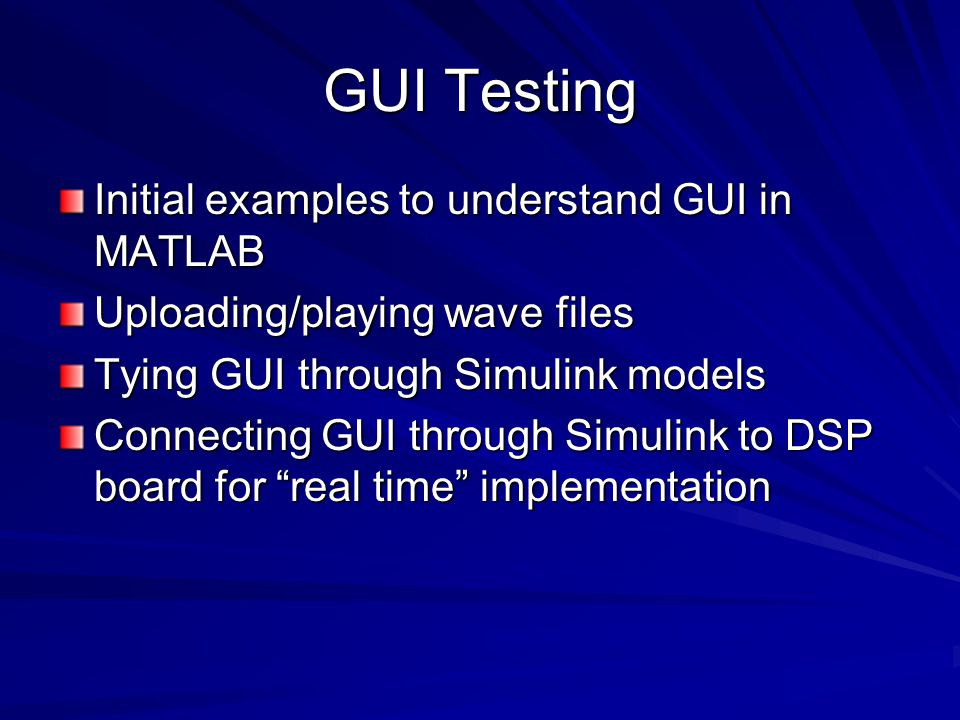 GUI Testing Initial examples to understand GUI in MATLAB