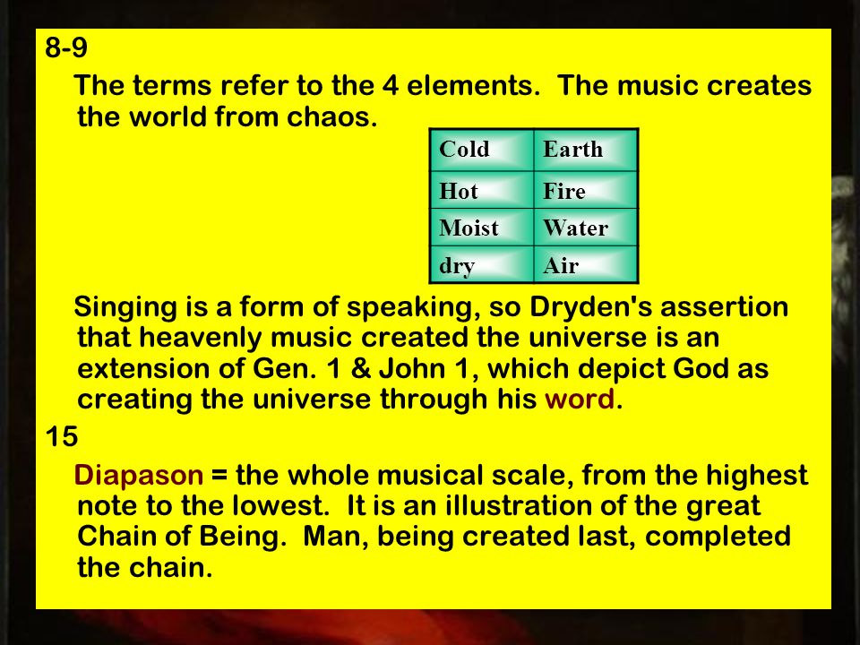 8-9 The terms refer to the 4 elements. The music creates the world from chaos.