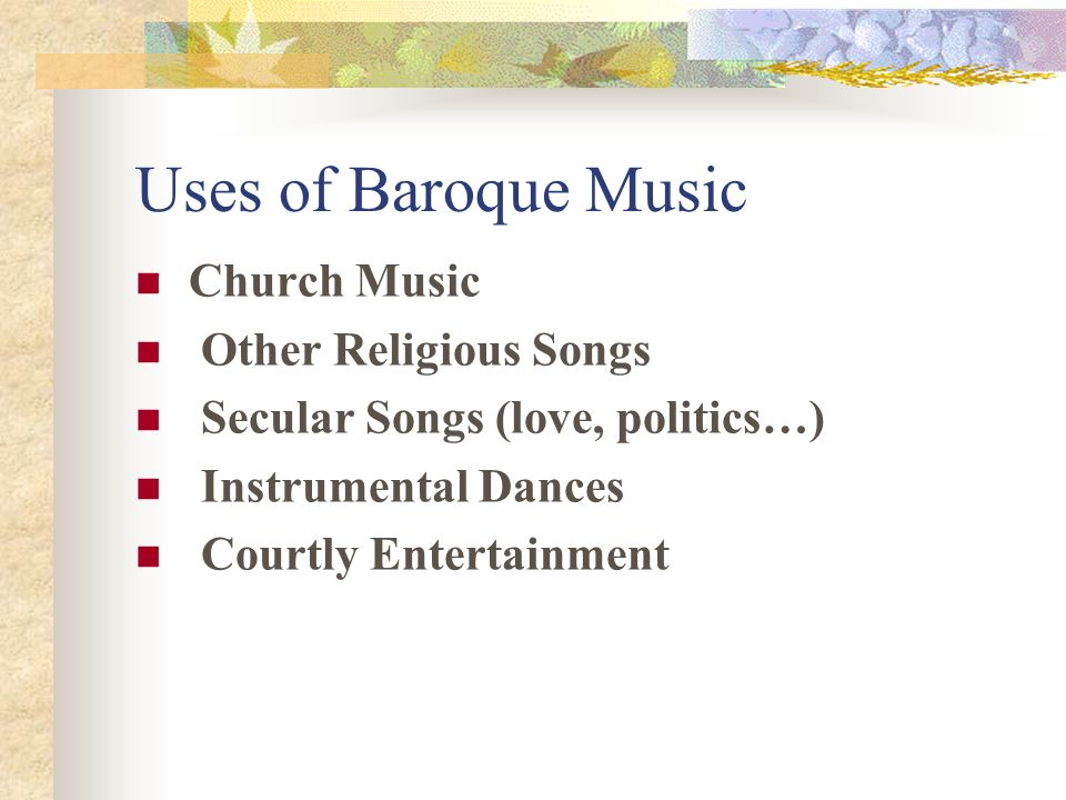 Uses of Baroque Music Church Music Other Religious Songs