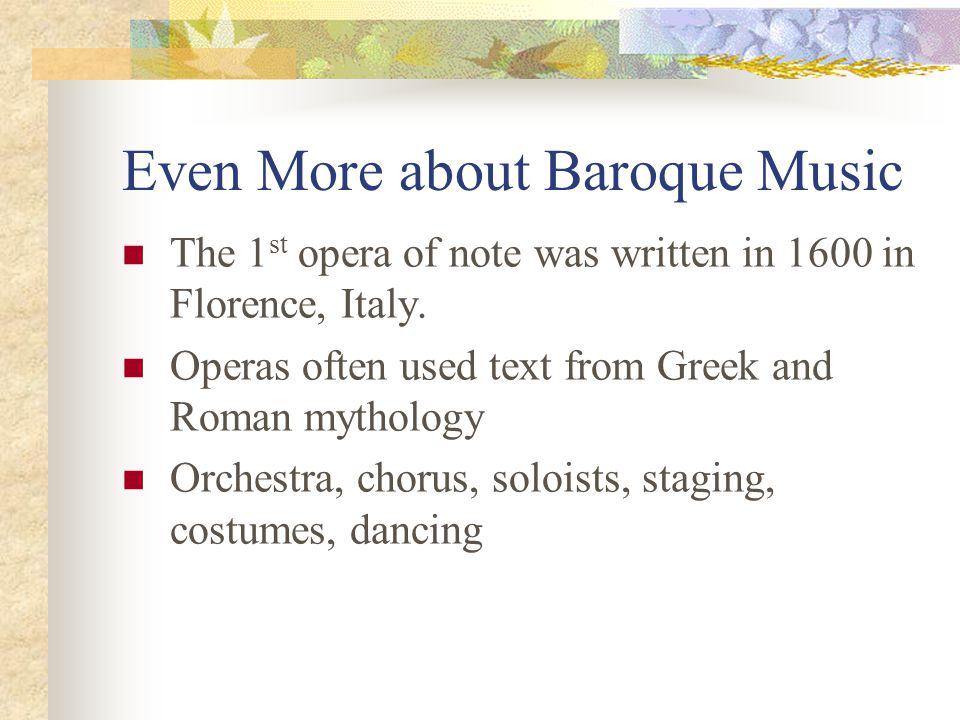 Even More about Baroque Music