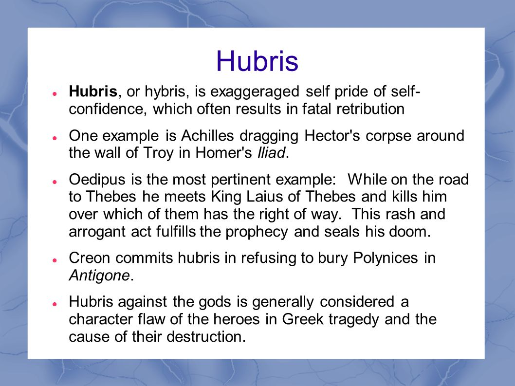On hubris and tragic heroes essay