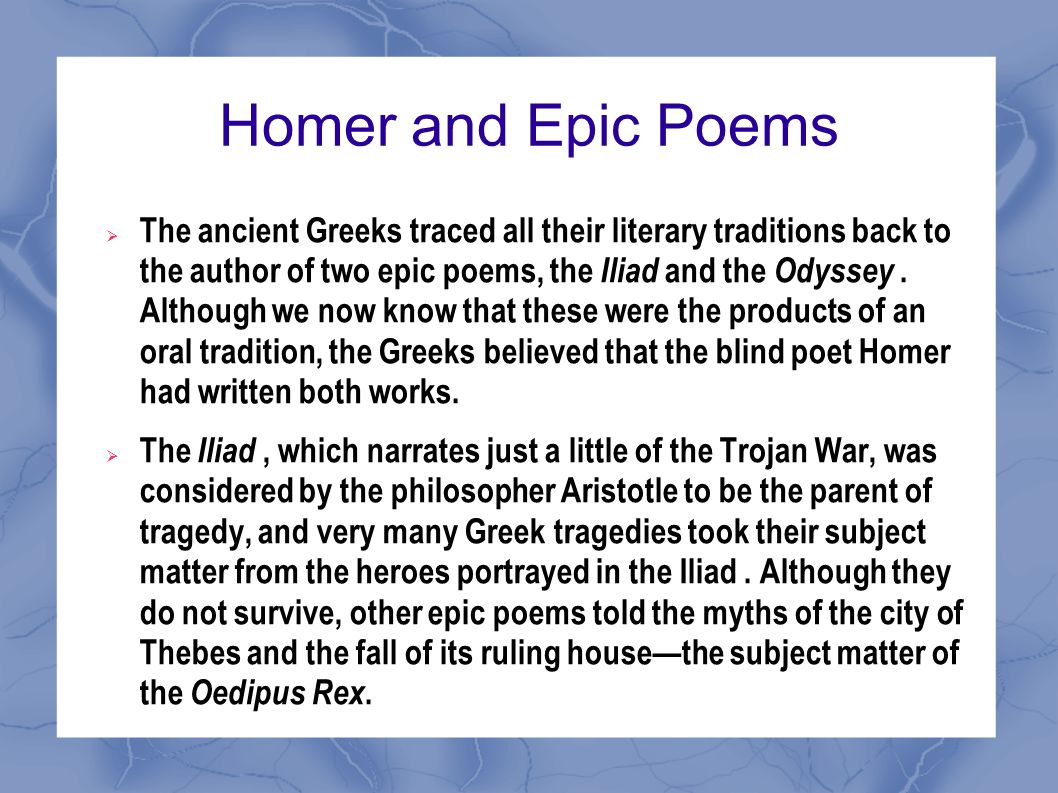 Homer and Epic Poems