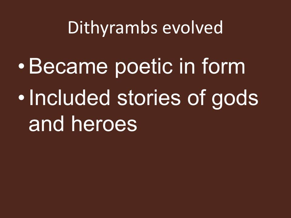 Included stories of gods and heroes