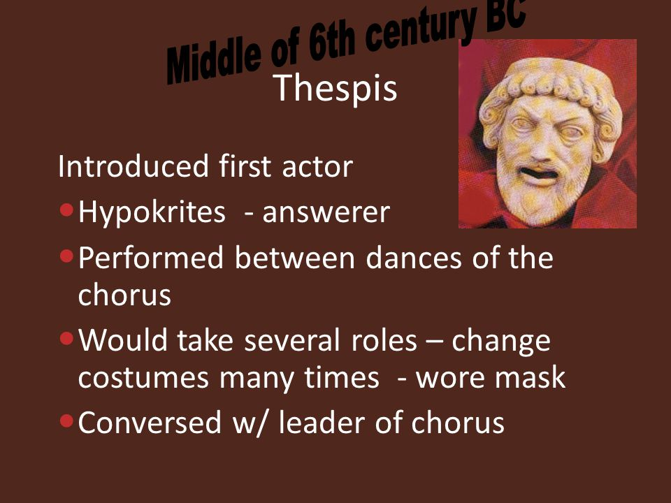 Thespis Introduced first actor Hypokrites - answerer