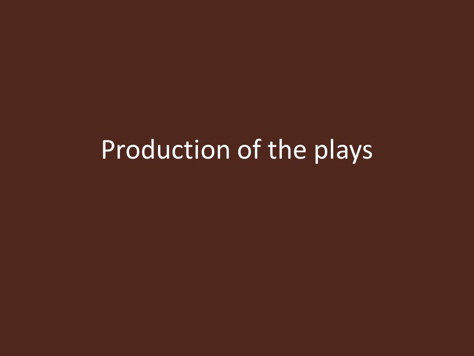 Production of the plays